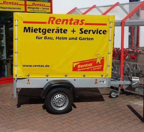 Planenanhänger mieten & vermieten - Anhänger, Ladefläche 2 x 1 m, Nutzlast max. 500 kg, mit Plane und Spriegel in Bochum