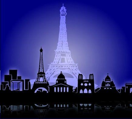 Kulissen mieten & vermieten - Silhouette von Paris Kulisse, Kulisse, Paris, Frankreich, französisch, Eiffelturm, Skyline, Stadt, Dekoration, Event in Kamp-Bornhofen
