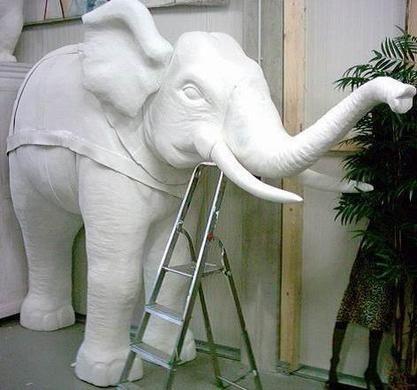 Dekofiguren mieten & vermieten - Elefant Figur halb, Elefant, Figur, Afrika, afrikanisch, Indien, indisch, Asia, Asien, asiatisch, Wildtier, Tier in Kamp-Bornhofen