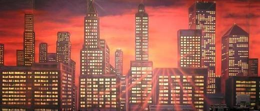 Dekorationsservice mieten & vermieten - New York Skyline Kulisse, Kulisse, Skyline, New York, USA, Amerika, Stadtkulisse, Großstadt, Hochhaus, Wolkenkratzer in Kamp-Bornhofen