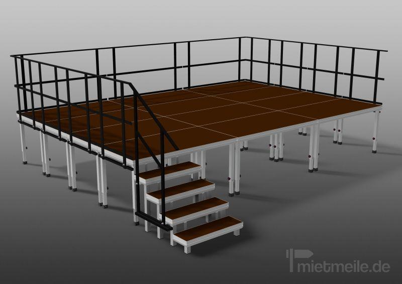 Bühne mieten & vermieten - Komplette Bühne 6 x 6 m ink. Geländer und Treppe in Berg bei Neumarkt in der Oberpfalz