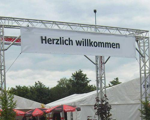 """Länder & Flaggen mieten & vermieten - """"Herzlich Willkommen""""- Plane für Eventdekoration in Reinstädt"""