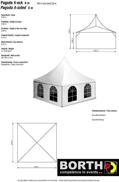 Festzelt mieten & vermieten - Pagode / Zelt mit elegantem Spitzdach und 6x6 m in Ratingen