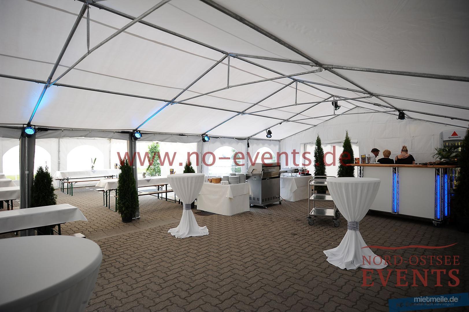 Partyzelte mieten & vermieten - Pavillon 3 x 3 x 2,5 m / Stoff / Blau / inkl. Auf- und Abbau auf Rasen in Neumünster