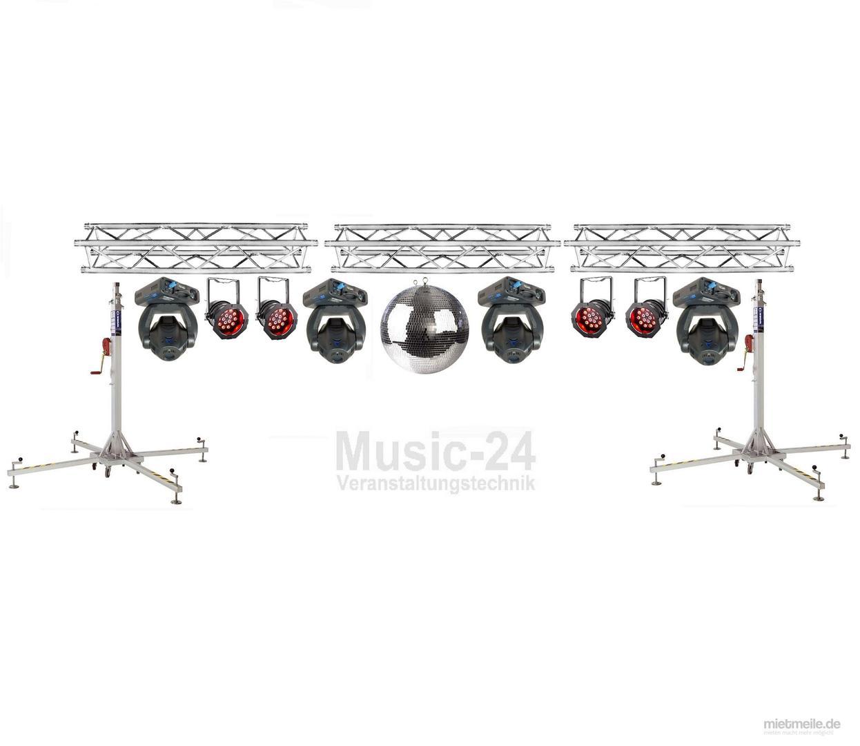 Lichttechnik mieten & vermieten - Lichtanlage 8m Traversen, 2x Phantom50, 8x Led Scheinwerfer, 2x Tri Phase, Lichteffekt in Wismar