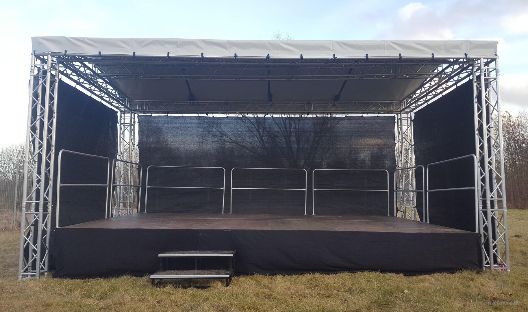 Bühne mieten & vermieten - 6x4m Open Air Bühne, Giebeldachbühne, Showbühne, Eventbühne, Bühnendach in Wismar