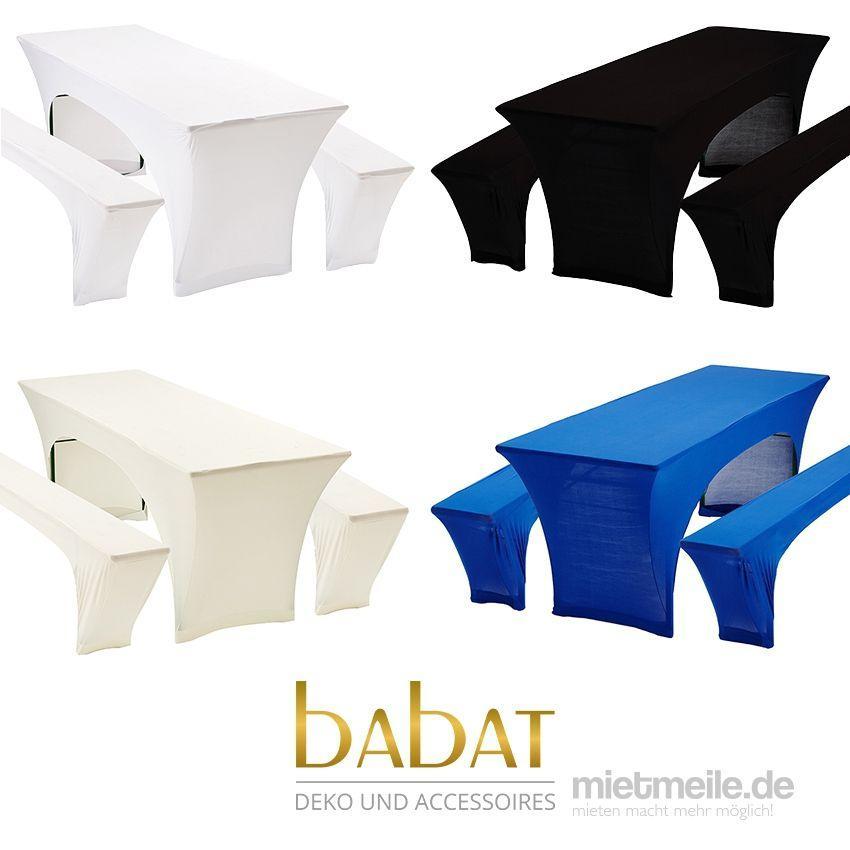 Tischdekoration mieten & vermieten - Bierbankhussen, Bierzeltgarniturhussen, Hussen, Bierbank, Hussen, Hochzeitsdekoration in Denkendorf