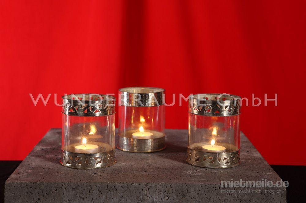 Leuchten & Lampen mieten & vermieten - Windlicht mit Zierrand - WUNDERRÄUME GmbH vermietet: Dekoration/Kulisse für Event, Messe, Veranstaltung, Incentive, Mitarbeiterfest, Firmenjubiläum in Lichtenstein/Sachsen