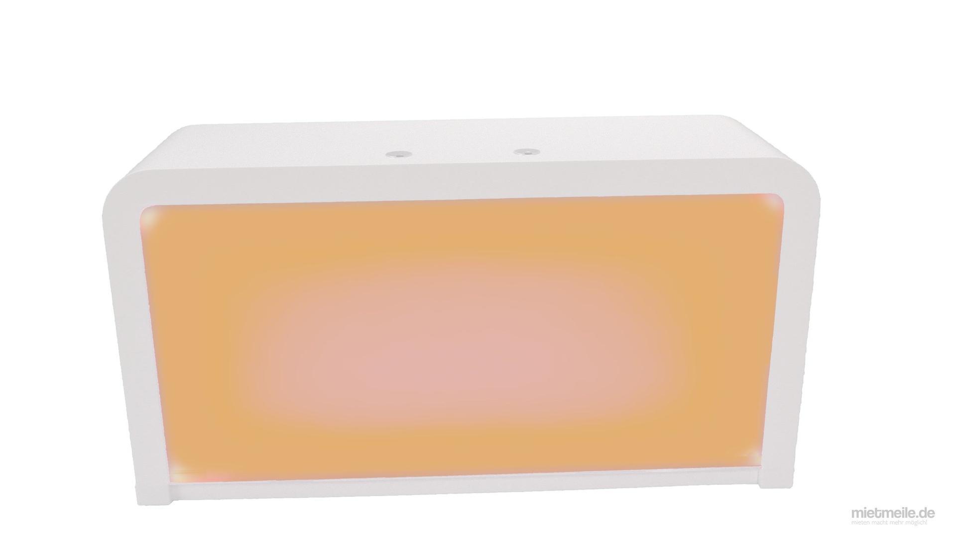 Messemöbel mieten & vermieten - Theke mit LED-Beleuchtung in verschiedenen Farben mit Kühlschrank in Pirna