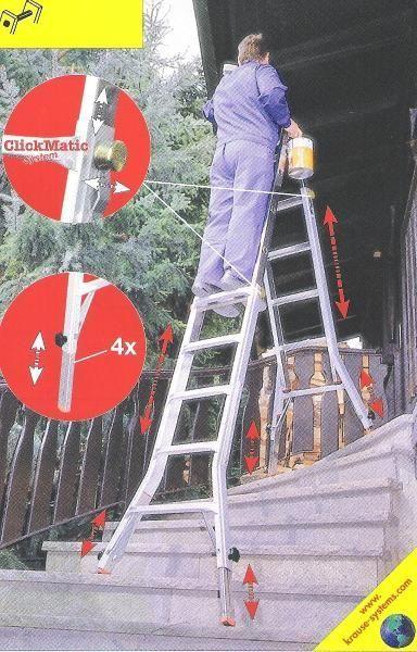Leiter mieten & vermieten - Teleskop Alu-Gelenkleiter bis 5,3 m Länge - Ideal für Treppen und schwer zugängliche Stellen! in Elsdorf (Rheinland)