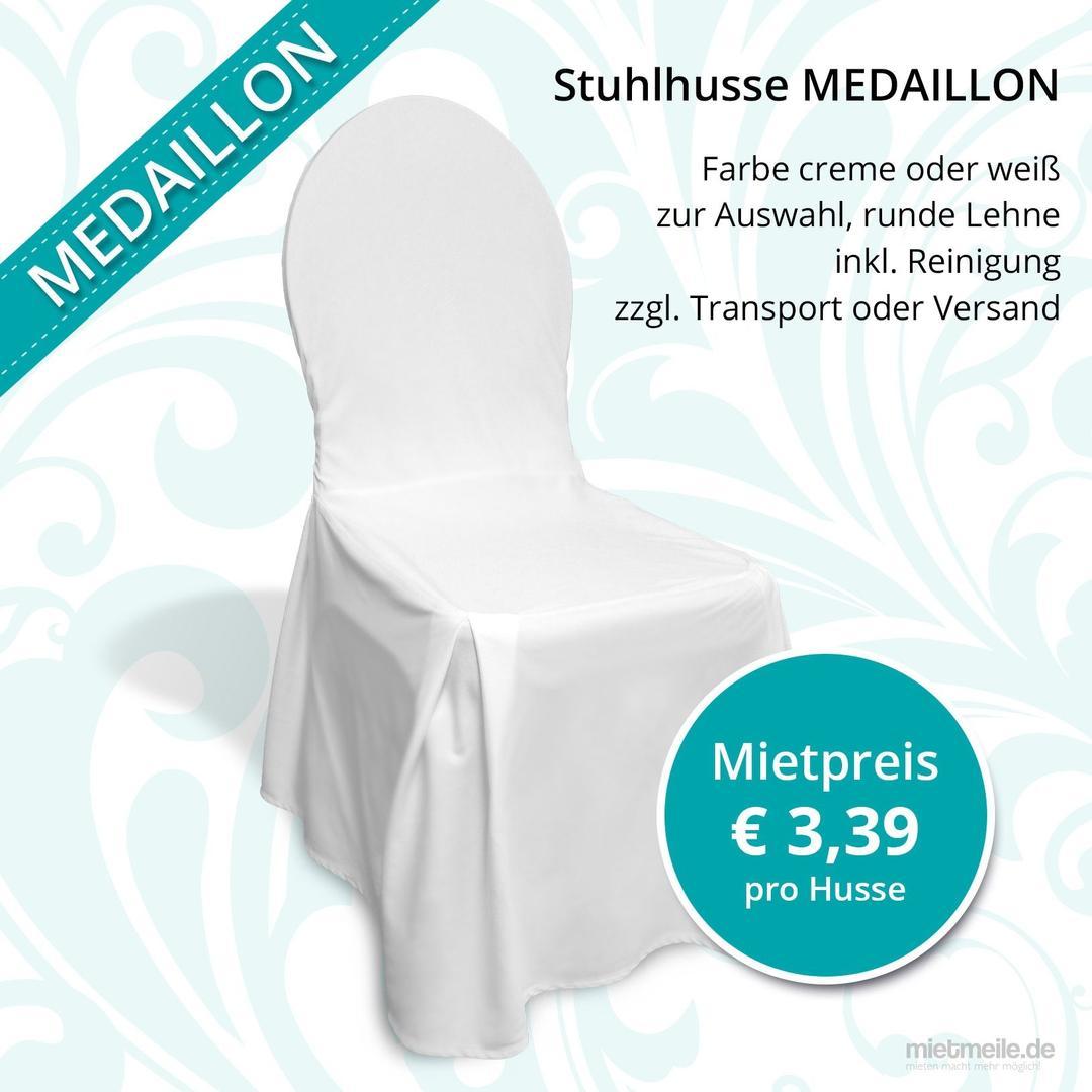 Stuhlhussen mieten & vermieten - Stuhlhusse weiß für Bankettstühle mit runder Lehne, inkl.  Reinigung, Stuhlhussen, Stuhlüberzug, Bankettstuhl in Berlin