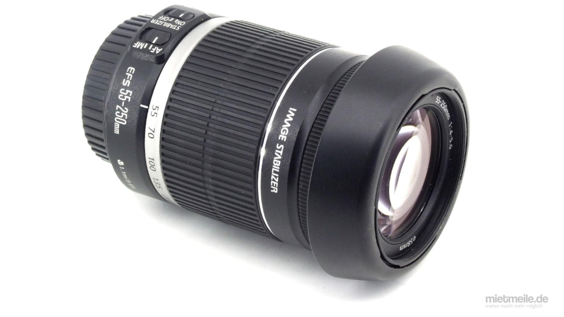 Objektive mieten & vermieten - Tele-Zoom Objektiv Canon EF-S 55-250mm F/3.5 IS in Schkeuditz