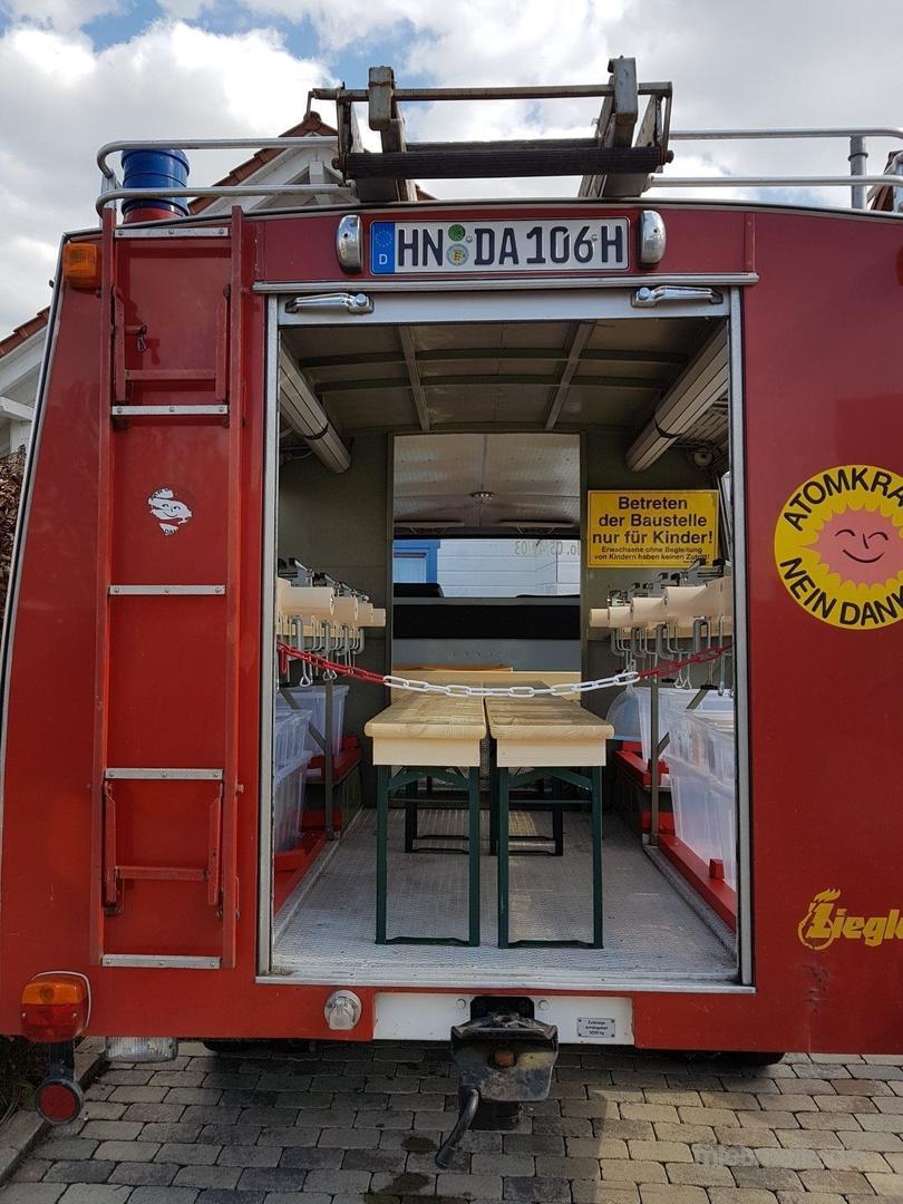 """Basteln & Malen mieten & vermieten - Feuerwehr Oldtimer """"Blitzi"""", dass Bastelmobil der besonderen Art in Obersulm"""