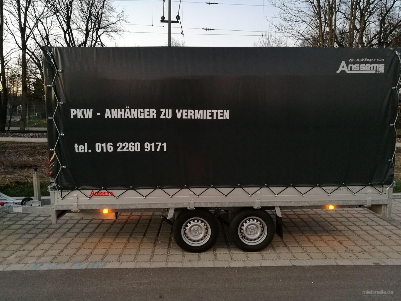 Autoanhänger mieten & vermieten -  PLANENANHÄNGER / PKW-ANHÄNGER XXL PLANE, ca. L 4.05 /B1.80/h1.80 cm in Kolbermoor