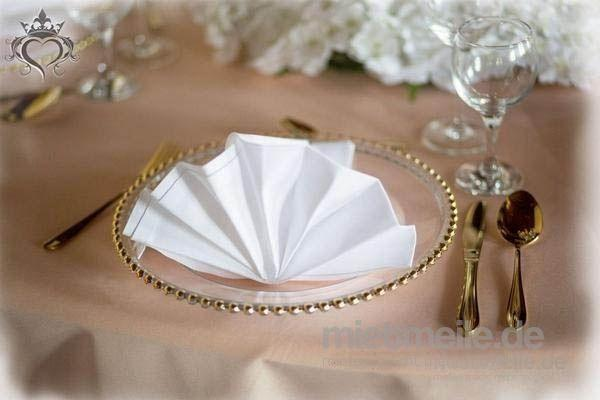 Tischdekoration mieten & vermieten - Glas Platzteller mit goldene Perlen oder Platzteller silberne Perlen Unterteller transparent Teller Event Bielefeld Hochzeitsdeko Tischdeko Kassel, Düsseldorf                       in Bielefeld