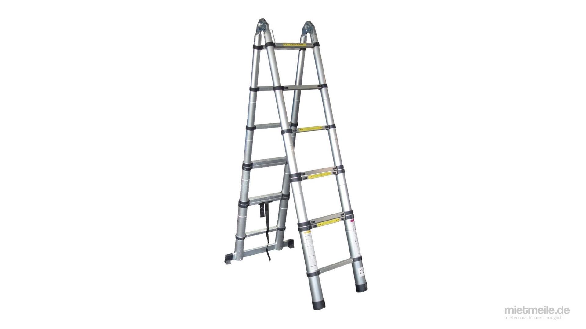 Leiter mieten & vermieten - Teleskop-Leiter Stand-Leiter Treppenleiter 8x2 in Schkeuditz