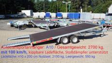 Autotransportanhänger 2700 kg, mit 100 km/h, Ladefäche : 410 x 200 cm / A 10 Autoanhänger kippbare Ladefläche, Stoßdämpfer unterstützt Anhängervermietung Anhängerverleih Anhänger