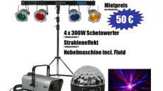 Party Lichtanlage 4 Scheinwerfer, Effektlicht, Nebel