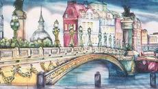 Frankreich Saine Ufer Kulisse, Kulisse, Frankreich, France, Saine, Fluss, Ufer, Paris, Dekoration, französisch, Brücke
