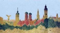 Über den Dächern von München Kulisse, Kulisse, München, Bayern, Dächer, Münchner Kulisse, Dachkulisse, Dekoration