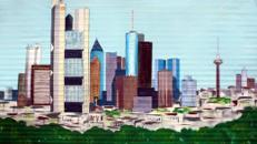 Frankfurt Kulisse, Frankfurt, Ffm, Mainhatten, Kulisse, Dekoration, Frankfurt Skyline, Skyline, Stadt, Stadtkulisse