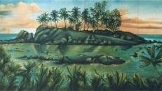 Karibische Palmeninsel Kulisse, Kulisse, Palmen, Palme, Insel, Karibik, karibisch, Palmeninsel, Südseeinsel