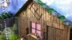 Ski- & Wander- Almhütte Hausfassade, Wanderhütte, Almhütte, Skihütte, Hütte, Alpen, Alpenhütte, Hüttchen, Fassade