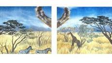 Afrikanische Tiere in der Savanne Kulisse, Kulisse, Savanne, Tiere, afrikanisch, Afrika, Dekoration, leihen, mieten
