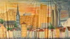 Düsseldorf Stadt Kulisse, Düsseldorf, Kulisse, Stadtkulisse, Dekoration, Stadt, Düsseldorf Skyline, Event, Messe