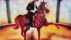 Zirkus Pferd mit Reiter Kulisse, Pferd, Reiter, Zirkus, Cirkus, Manege, Kulisse, Spaß, Unterhaltung, Domteur