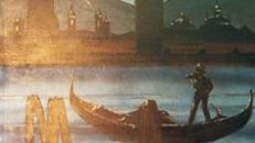 Venedig bei Nacht Kulisse, Venedig, Nacht, Kulisse, Dekoration, venezianisch, Italien, italienisch, Gondel, Gondoliere