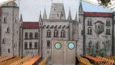 Burg Kulisse, Burg, Kulisse, Schloss, Schlosskulisse, Burgmauer, Mauer, Gemäuer, Schlossmauer, Event, Messe