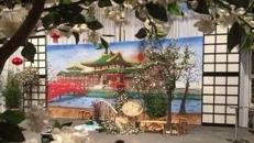 Chinesische Tempelanlage Kulisse, Tempel, Tempelanlage, China, chinesisch, japanisch, Japan, Wasser, Asien, Asia