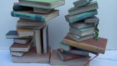 Bücherstapel, Bücher, Stapel, Lesen, Bibliothek, Lernen, Buch, Dekoration, Attrappe, Schule, Event, Messe