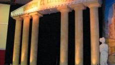 Griechische Tempelbühne, Tempel, Bühne, Griechenland, Tempelanlage, griechisch, Säulen, Säule, Säulentempel, Dekoration