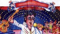 Karneval Elvis Kulisse, Karneval, Carneval, Fasching, Fassnacht, Fassenacht, Elvis Presley, King of Rock, Dekoration