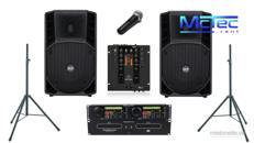 Bis ca. 90 Gäste Lautsprecher Musikanlage Beschallungsanlage Partyanlage Boxen Mischpult Doppel CD Player Mikrofon