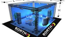 Traversensystem: 10 m x 10 m, Höhe 5 m Messestand