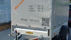 PKW Anhänger 2,5 mtr. x 1,3 mtr. mit Hochplane in zu vermieten