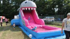 MEGA Wasserrutsche mit Pool Haifisch, Riesenrutsche, Hüpfburg