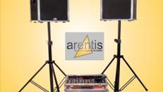 Musikanlage - Soundsystem - DJ-Anlage - robuste Lautsprecher aus Multiplexholz in einheimischer Manufaktur gefertigt, 2x200 Watt für ca. 100 Personen