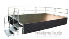 4 x 3m Bühne - Podesterie - Podeste inkl. Treppe Showbühne