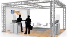 Traversen Messestand - Mietmessestand mit Beleuchtung - Systemmessestand