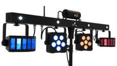 Party Lichtstativ mit Laser, Strobl, LED PAR und Durby - Fußschalter, Fernbedienung oder DMX