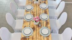 rustikaler Holztisch aus alten Bohlen / Vintage Esstisch / Banketttisch