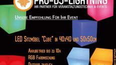 """LED Sitzmöbel """"Cube"""" Sitzwürfel, Sitzhocker, Loungehocker, Loungecube, Eventmöbel, Leuchtmöbel, Loungemöbel, Party, mit Akku LED Beleuchtung, Eventtechnik, Eventequipment"""