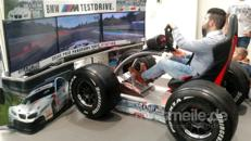 Rennsimulator BMW, Fahrsimulator, 2,80 m Monitorwand, mieten, leihen, Vermietung, Verleih