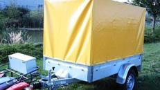 Geschlossener Plananhänger geeignet für Fahrräder und Gepäck - 850 kg gebremst - Ladefläche: 2070 x 1080 x 1300 = 2,90 m³ - Nutzlast  ca. 530 kg