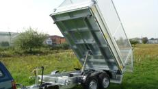 Dreiseitenkipper mit E-Pumpe + Laubgitter Hochlader 3.500 kg gebremst - Ladeflaeche: 3100 x 1760 x 1360 mm - Nutzlast ca. 2.700 kg