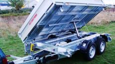 Dreiseitenkipper mit E-Pumpe -  Hochlader 3.000 kg gebremst 100 km/h Mehr als 200 Mietanhänger vorrätig